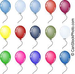 party, luftballone, in, verschieden, farben