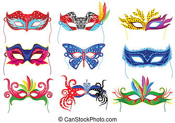 Party Mask - easy to edit vector illustration of colorful...