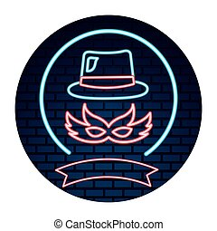 party mask hat neon brick wall