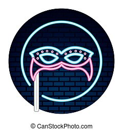 party mask neon brick wall