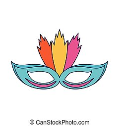 Party mask with feather blue lines