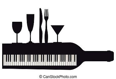 Blatt, klavier, musik.