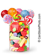 party mix sweets - glass jar full of candy and lollipops