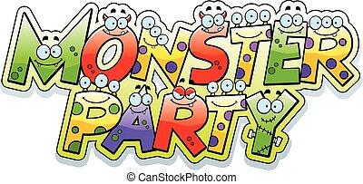 party, monster, karikatur, text