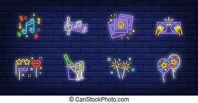 Party neon sign set with air balloons