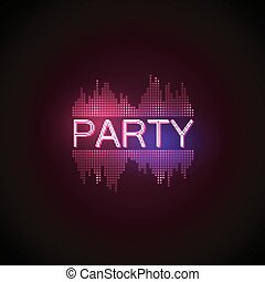 Party neon sign with digital music equalizer