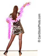 Elegant woman in evening sequin dress - Party new year...