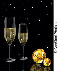 party night background with disco ball, wine glass