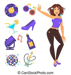 Party night club and dancing girl vector flat icons