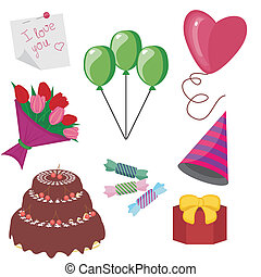 party objects on white background