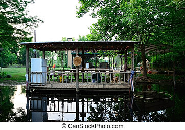 Party on the Bayou - Outdoor camps or kitchen are a common...