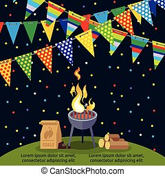 Party or BBQ poster design with colorful flags