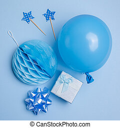 Party Or Birthday Background Balloon Gift Box On Blue Top View Flat
