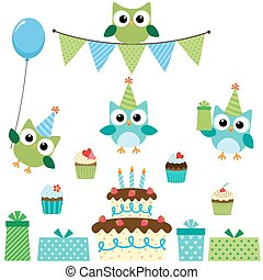 Party owls blue set