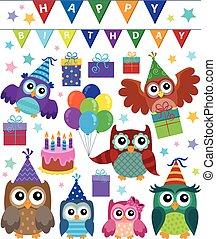 Party owls theme set 1