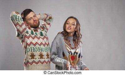 party, paar, glückliches weihnachten, tanzen
