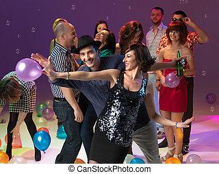 party, Paar, junger, tanzen