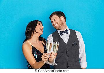 party, paar, sektfl�ten, glücklich