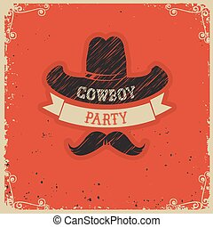 party, papier, roter hintergrund, cowboy