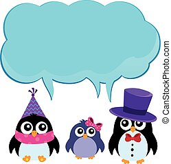 Party penguins with copyspace theme 2