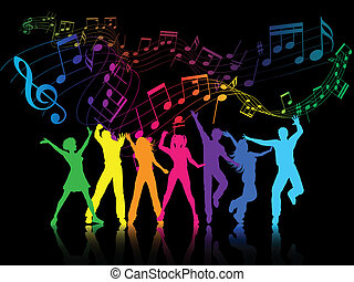 Party people - A colourful party background with people...
