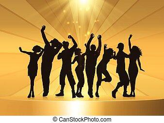 Party people dancing on a golden podium background