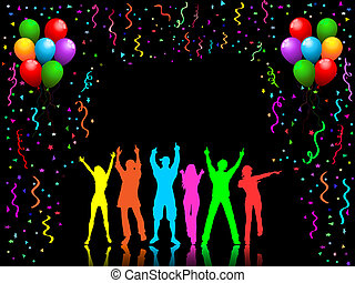 Party people dancing - People dancing on party background