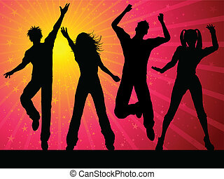 Silhouettes of people dancing on starry background