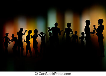Party people - Editable vector silhouettes of people at a...
