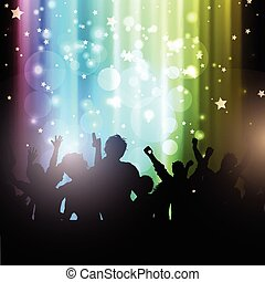 party people on bokeh lights background 2102