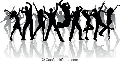 Party people - Silhouette of a large group of people dancing...