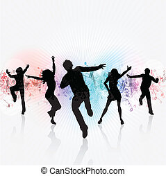 Party people - Silhouettes of people dancing on a music...