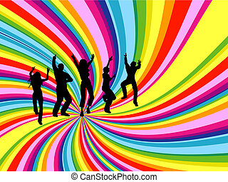 Silhouettes of people dancing on rainbow twirl background