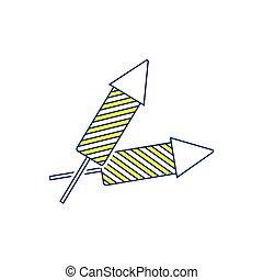 Party petard  icon. Thin line design. Vector illustration.