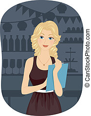 Party Planner - Illustration of a Girl Holding a Clipboard...