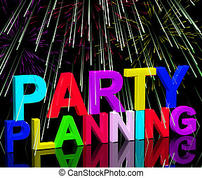 Party Planning Words Showing Birthday Or Anniversary...