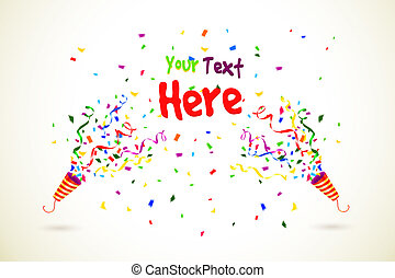 Vector Party Popper with text space on white background