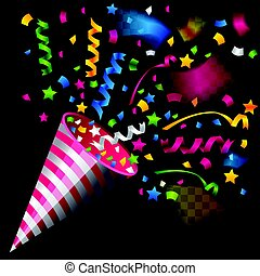 Party popper for celebration on transparent background