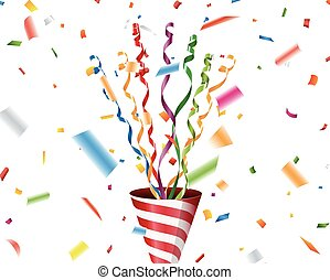 Party popper with confetti and streamer