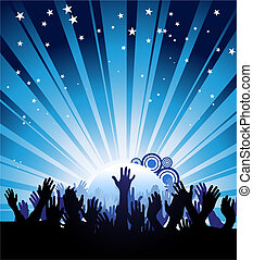 Party Poster - Blue illustration of a crowd reaching towards...