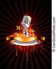 Party Poster With Microphone and Piano in Fire Flame