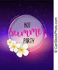 Party poster template with flowers