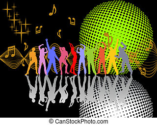 party poster - vector illustration of dancing people ...