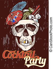 Party poster with a cocktail in a skull