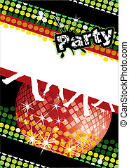 Party poster with disco ball and dot pattern, eps10 vector...