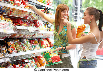 two friends while shopping all brandmarks removed