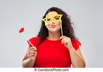 funny woman with star shaped glasses and red lips