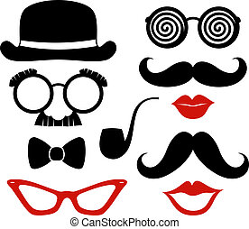 party props vector - set of mustaches, lips and eyeglasses ...