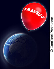 party red balloon in space with earth globe