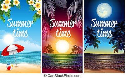 party, sandstrand, banner